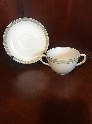 Vienna Austria, THE LONATO Gold & Green Floral 2 Handled Cup & Saucer