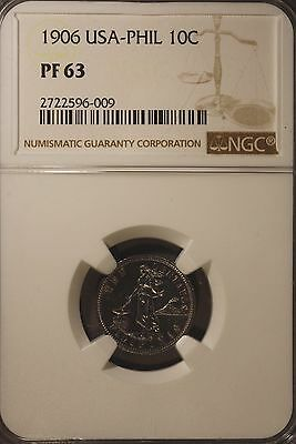 1906 Philippines 10 Centavos NGC PF 63 ~ Rare Collection of Proofs Seldom Seen !