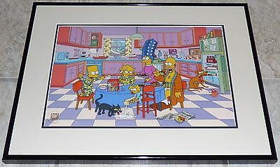 Breakfast With The Simpsons 2001 Framed Limited Edition Sericel Matt Groening