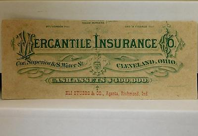 Mercantile Insurance Co Cleveland OH Ink Blotter Eli Stubbs Agent Richmond IN