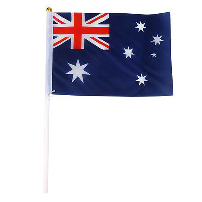 SS Hand Waving Australia National Flags Plastic Poles 21 x 14cm Pack of 12