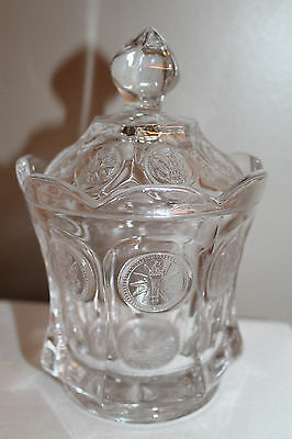 Fostoria Coin Glass Clear Covered Candy Dish Or Sugar, Vintage, Fancy Piece