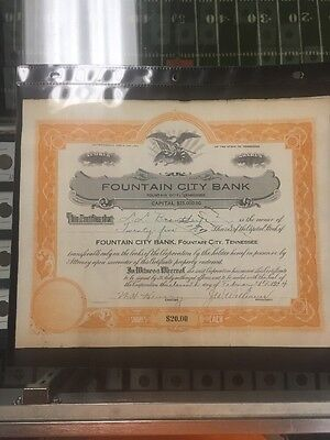 1924 Fountain City Bank Stock Certificate Tennessee