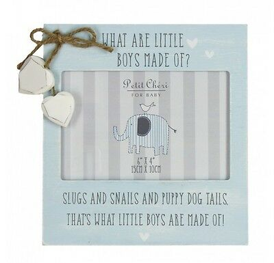 Petit Cheri What are Little Boys Made of Photo Frame 6x4 Newborn Baby Gift Blue