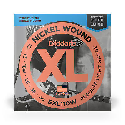 D'Addario EXL110W Nickel Wound Wound 3rd Electric Guitar Strings (10-46)