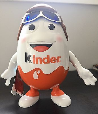 "New Unopened Kinder Egg Display Figurine 9"" Pilot Aviator w/ 7 chocolate eggs"