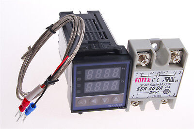 Digital PID Temperature Controller 110-240V Kit REX-C100 + SSR40DA 1Set