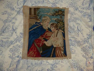 Antique Religious Tapestry - Late Victorian Woolwork Picture  - C.1880 - Moses ?