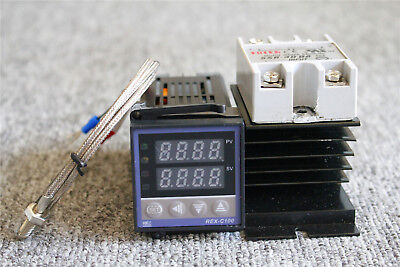 PID Temperature Control REX-C100 + 40A SSR with K Thermocouple & Probe Heat Sink