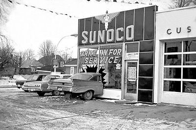 """SUNOCO GAS and OIL SERVICE STATION  1960'S CARS CHEVY """"DRIVE IN FOR SERVICE"""""""