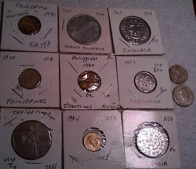 Philippines / Indonesia Lot Of 10 Coins Indonesia Unc 1953  25 Sen, 1957 50 Sen