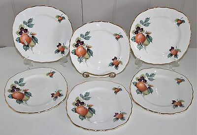 Lot of 6 Royal Vale Bone China Square Bread & Butter Plates Fruit Pattern # 8225