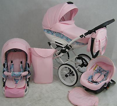 3 in 1 RETRO PRAM  PUSHCHAIR + CAR SEAT - 16 COLOURS + FREE ACCESSORIES