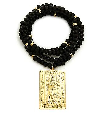 "Egyptian Ancient Hieroglyphic Alphabet Thoth Pendant 6mm 30"" Wood Chain Necklace"