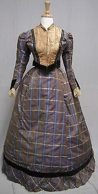 #17155, 1860's Silk Plaid Dress Reworked in the 1890's