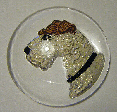 1930 SCOTTISH FOX TERRIER DOG 30mm CABOCHON DOMED PAINTED INTAGLIO CZECH CRYSTAL