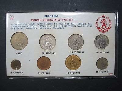 BULGARIA 1950's 1 STOTINKA 50 STOTINKI 1 LEV GEM BU 8 COIN TYPE SET WORLD EUROPE