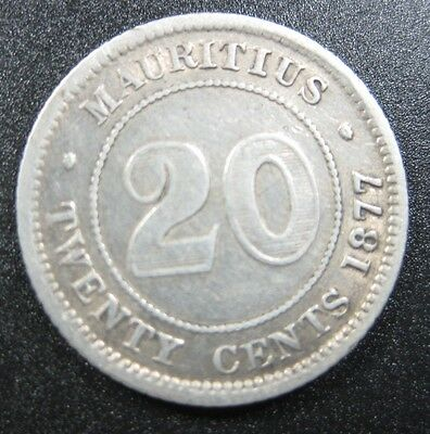 Mauritius 20 Cent 1877 H Silver Scarce #t British Victoria Africa Money Coin