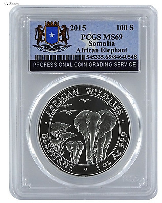 2015 Somalia AFRICAN ELEPHANT 100 Shillings = One Oz .999 Silver Coin PCGS MS-69