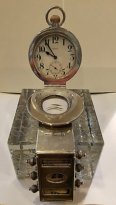 Extremely Rare London 1904 Glass & Sterling Silver Desk Clock+Calendar+Inkwell