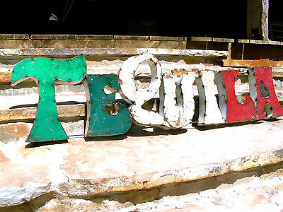 LARGE Junk Iron Tequila Sign Recycled Metal Art 0615