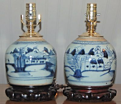 PAIR Chinese Blue & White CANTON Ginger Jars Lamps QING 19th C. Nautical