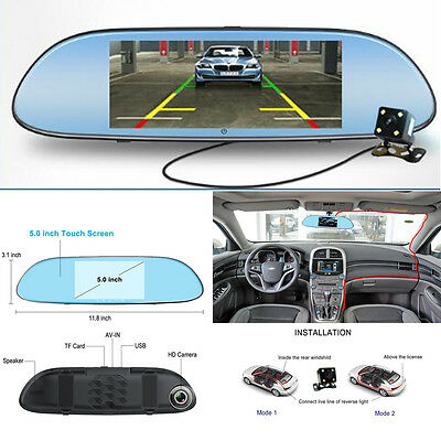Touch Screen HD Car Dual Lens Rearview Mirror Video Recorder Camera Night Vision