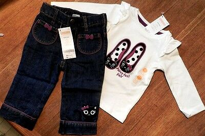 Gymboree Jeans Outfit 2pc Purrr fect Kitten Cotton Fall Winter Girl 6-12 mo New