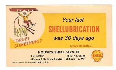 Shell Gas Station,Oil Change Reminder, Advertising Postcard (St. Louis,Mo.)