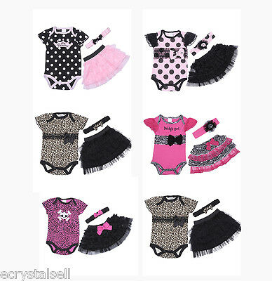 3pcs Newborn Baby Girls Romper Dress Jumpsuit+Skirt+Hairband Outfits Clothes