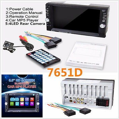 """6.6"""" Touch Screen 2DIN Bluetooth FM Radio Stereo Player Support 2USB TF+Camera"""