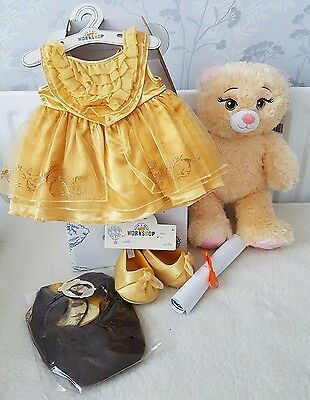 Build A Bear Beauty And The Beast Belle Inspired Bear + Dress And Shoes Bnwt's