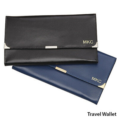 Personalised Monogrammed Genuine Leather Passport Travel Wallet - Free Lug Tag