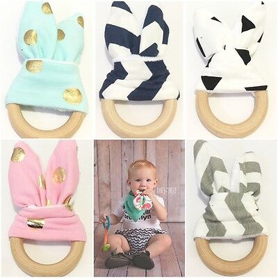 Eco Friendly Wooden Natural Baby Teething Ring Chewie Teether Bunny Sensory Toy