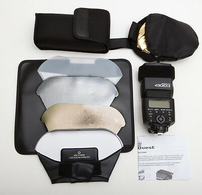 "Canon Speedlite 430EX II Shoe Mount Flash - Lumiquest Bounce Kit + 12"" Reflector"