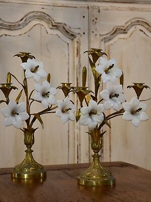 Pair of 19th century bronze and opaline candleabras
