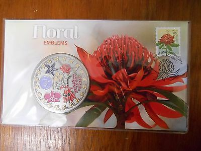 2014 FLORAL EMBLEMS Medallion Coin & Stamp PNC/FDC Unc in Dust Cover