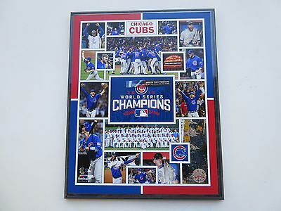 """Chicago Cubs 2016 Mlb  Champions Composite Photo Mounted On A """"12 X 15"""" Plaque"""