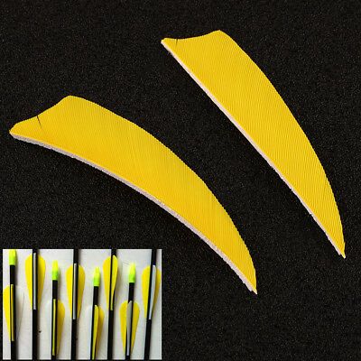 "50Pcs 3"" Right Wing Shield Shape Turkey Feathers Hunting Arrow Fletching Yellow"