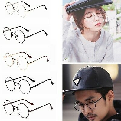 Big Round Metal Frame Clear Lens Round Circle Eye Glasses Retro Nerd Spectacles