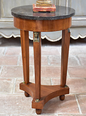 Small Empire style marble side table - French marble top side table