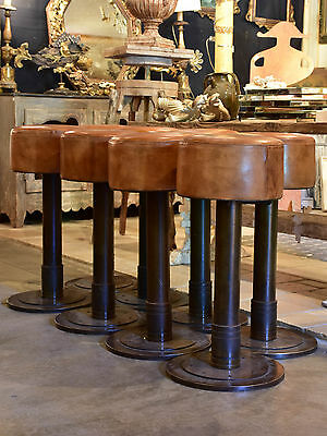 Vintage French leather bar stools -three