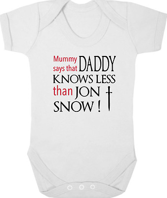 GAME OF THRONES Bodysuit/Grow/Vest, Baby Shower, DADDY KNOWS LESS THAN JON SNOW