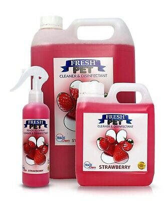 FRESH PET Pack Kennel/Cattery Disinfectant STRAWBERRY 250ml Spray, 1L Spray + 5L