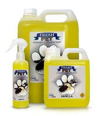 FRESH PET Pack Kennel/Cattery Disinfectant VANILLA 250ml Spray, 1L Spray + 5L