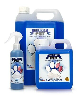 FRESH PET Pack Kennel/Cattery Disinfectant BABY TALC 250ml Spray, 1L Spray + 5L
