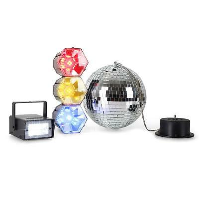 Mega Party Licht Set Discokugel Mini Stroboskop 3 Farben Spot Led Lichtampel