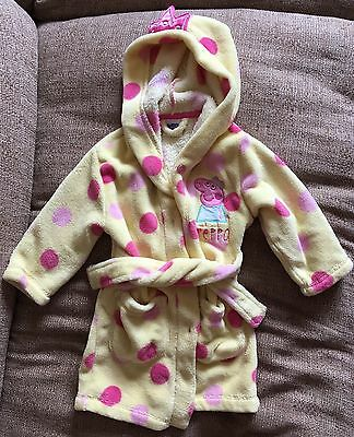 Bhs Yellow & Pink Spot Peppa Pig Dressing Gown With Hood - Age 1 1/2 - 2 Years