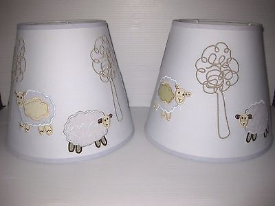 2 NEW Pottery Barn Kids NURSERY ROOM Lamb / Sheep Tree LAMP SHADES Blue Applique
