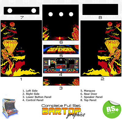 Defender Full/Half Sets Arcade Artwork Stickers Graphics / Laminated All Sizes
